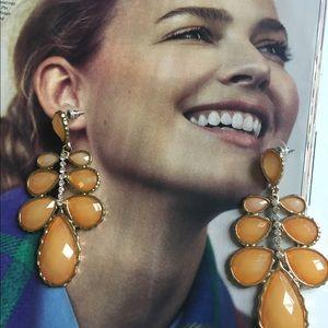 Amber Yellow Fall Statement Earrings Rhinestones